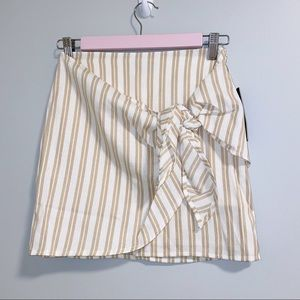Lulus striped tie front skirt